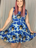 Candy Hearts Tina in Blue Inspired Skater Dress