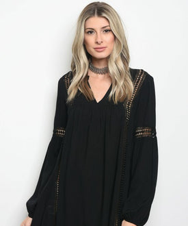 Boho Black Lace Detail Top/Dress