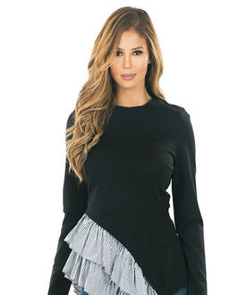 Curvy7 Black Ruffle Asymmetrical Top