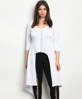 Curvy7 White  Latch and Hook Lace-Up Top