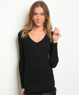 Black Faux Trim Dress/Top