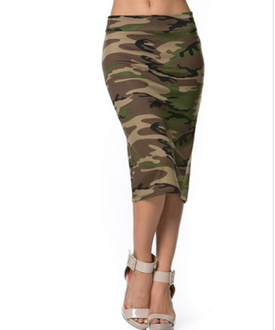 High-Waisted Camouflage Pencil Skirt