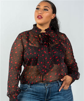 Black Sheer Red Stars Top
