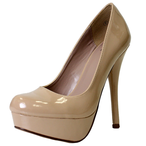 Jones-H Faux Patent Platform Stiletto Pumps