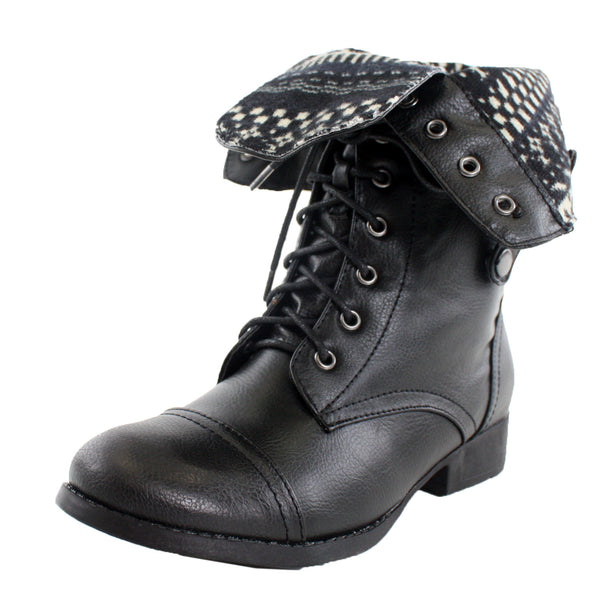 Sharpery-1 Fold Over Cuffed Combat Ankle Boots
