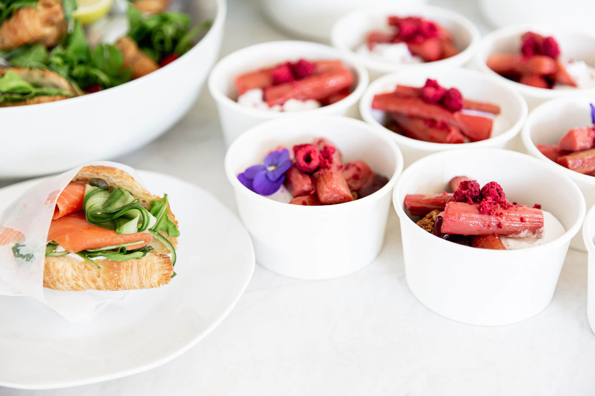 Salmon Croissant and Fruit Pots from Catroux's Breakfast Catering Menu