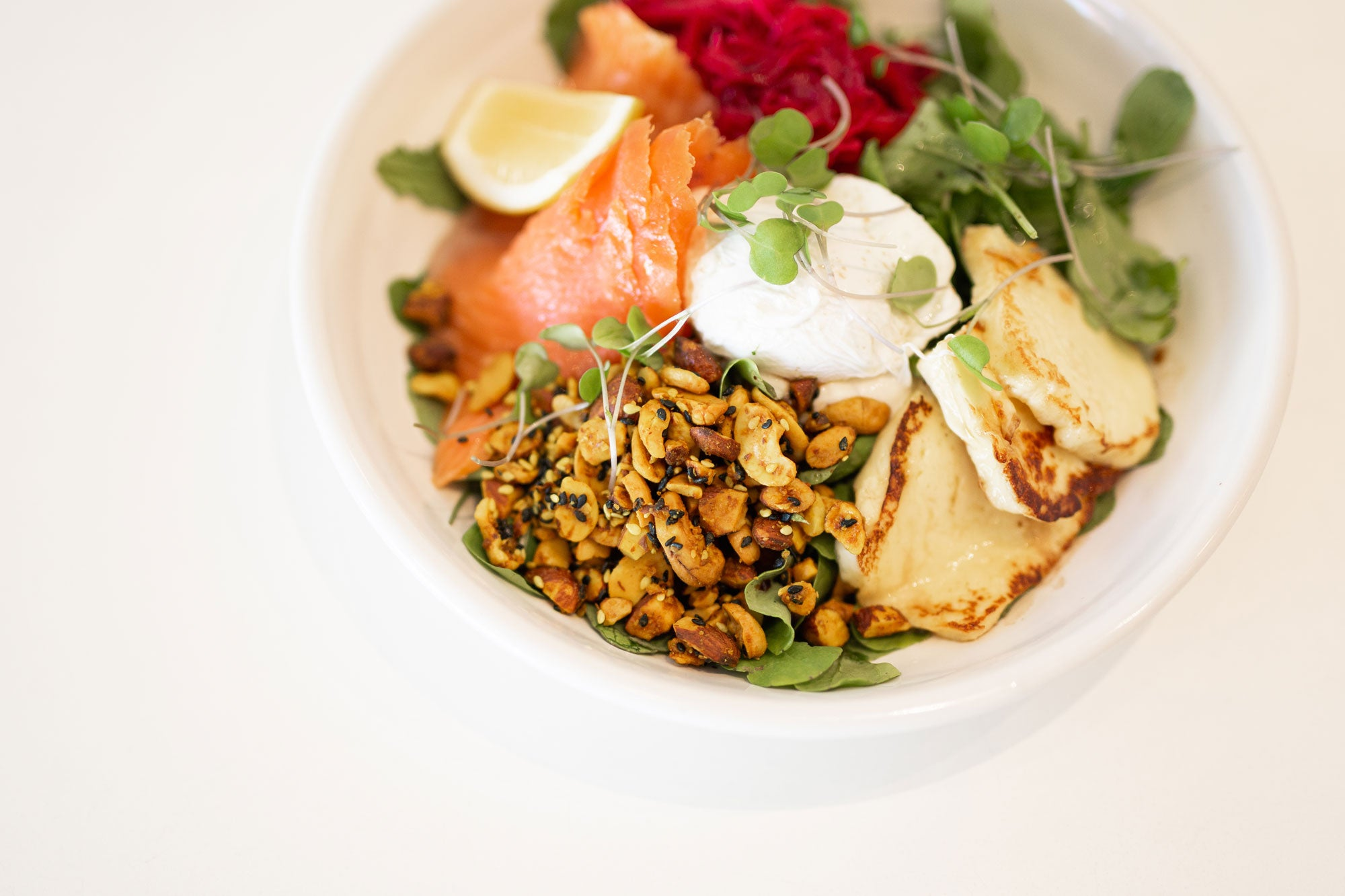 Salmon & Haloumi Bowl at Catroux Cafe