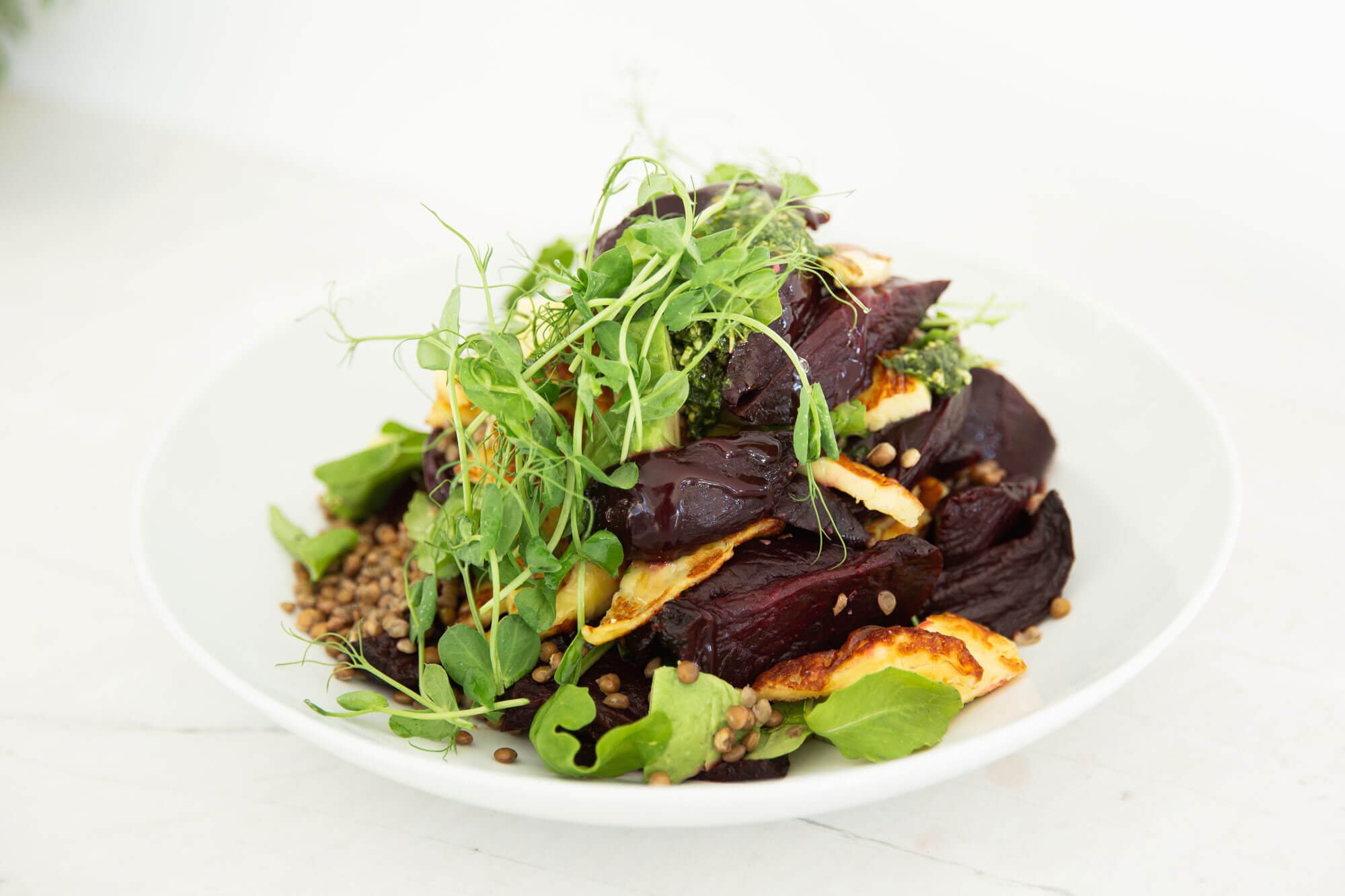 Salad with Beetroot, Haloumi and Lentils from Catroux's Salad Catering Menu