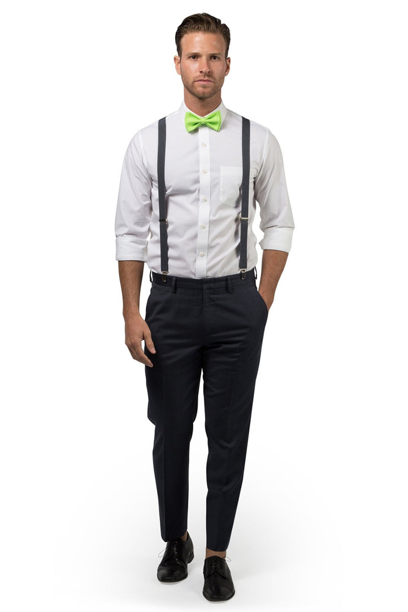 Charcoal Suspenders & Lime Bow Tie