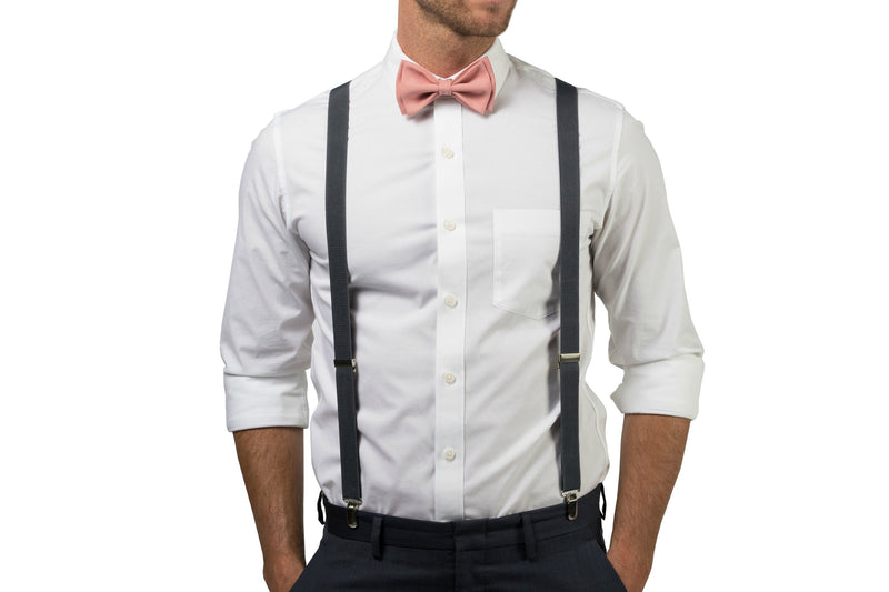 Charcoal Suspenders & Dusty Rose Bow Tie