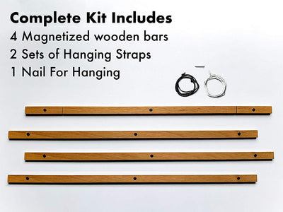 "Magnetic Wooden Hanger Frame For Maps, Posters, Prints, Photos, Artwork - 40"" Wide"
