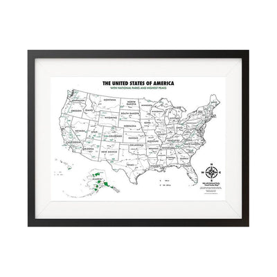 USA National Parks - Color-In Map - 18x24""