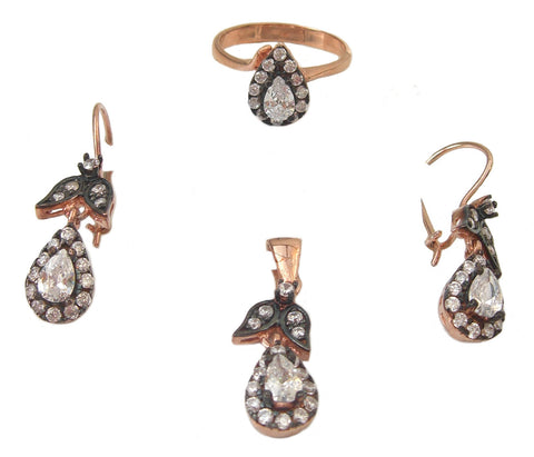 Antique rose gold plated silver set - Blooms of London - Designs inspired by nature