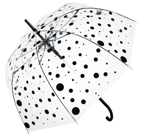 Black Polka Dot Transparent Umbrella - Blooms of London - Designs inspired by nature