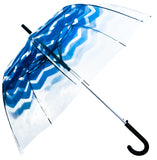 Blue Gradient Chevron Transparent Umbrella - Blooms of London - Designs inspired by nature