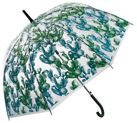 Cacti Light Green Transparent Umbrella - Blooms of London - Designs inspired by nature