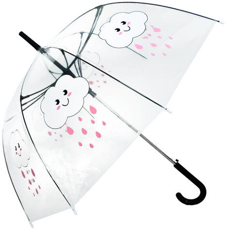 Clouds Raining Transparent Straight Umbrella - Blooms of London - Designs inspired by nature