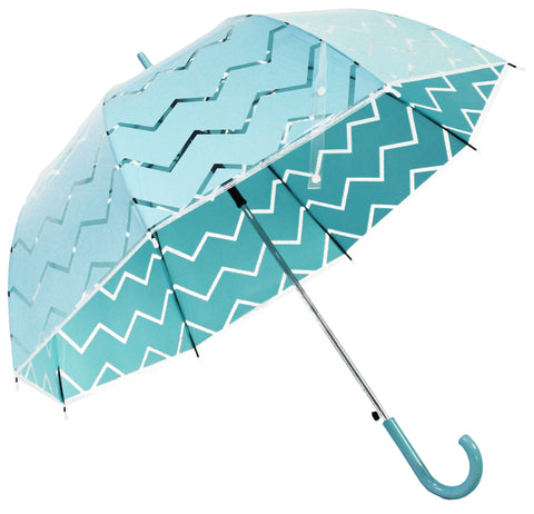 Chevron Style Turquoise Blue Transparent Umbrella - Blooms of London - Designs inspired by nature
