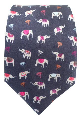 Elephant Print Silk Tie - Blooms of London - Designs inspired by nature