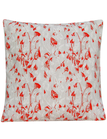 Heart Leaf Red and Gray Cushion Cover - Blooms of London - Designs inspired by nature