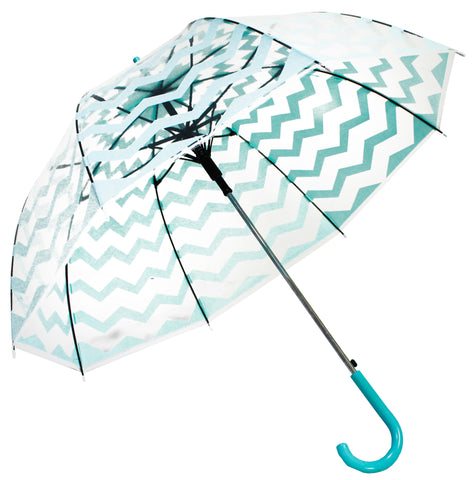Chevron Style Turquoise Light Blue Transparent Umbrella - Blooms of London - Designs inspired by nature