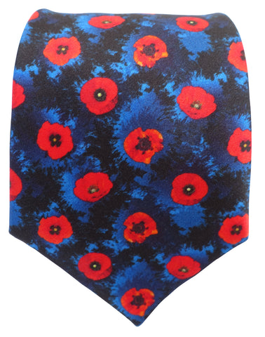 Blue and Red Poppy Tie - Blooms of London - Designs inspired by nature