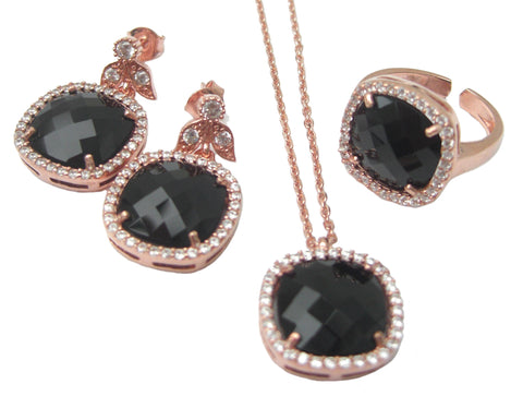 Black stone jewellery set - Blooms of London - Designs inspired by nature