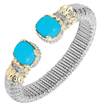 Vahan Turquoise Two Tone Cuff Bracelet