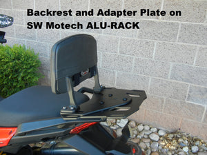 Backrest & Adapter Plate for SUZUKI SFV650 that attaches to the SW MOTECH ALU-RACK. SFV 650