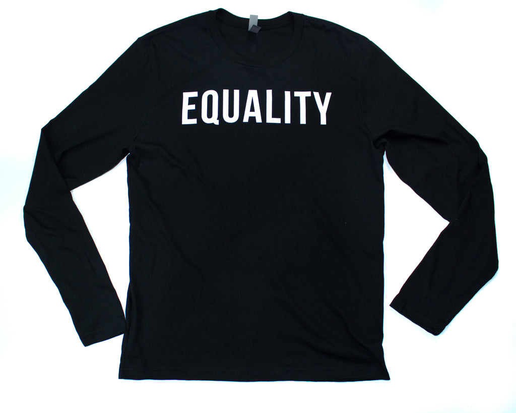 Black Equality Minimalist, Long Sleeve T-Shirt (White Lettering)