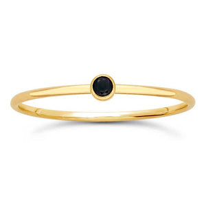 Black Gem Stackable Gold Ring - Nikki Smith Designs