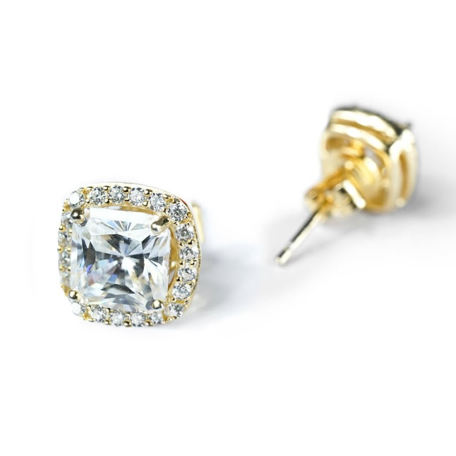 Moissanite Halo Stud Earrings- Gold - Nikki Smith Designs