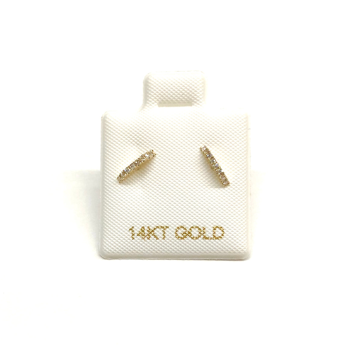 14K Diamond Bar Studs - Nikki Smith Designs