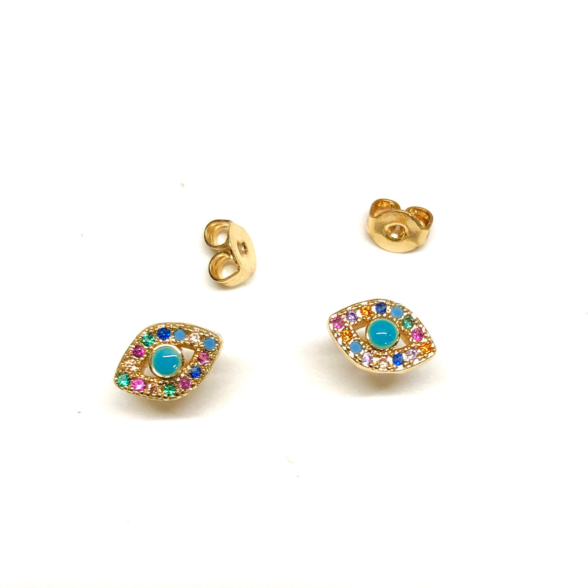 rainbow evil eye stud earrings