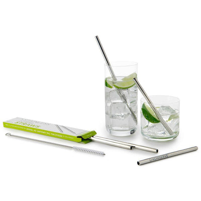 Set of 2 Straws U-Konserve Reusable Stainless Steel Straws (Multiple Variants) - Naked Baby Eco Boutique