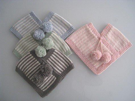Mushroom Natural Stripe / 0 - 6 Months / PomPom Weebits Knitted Poncho - Naked Baby Eco Boutique