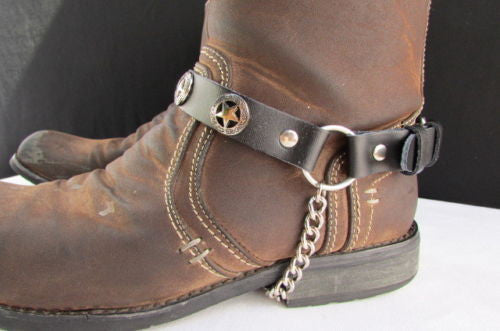 Biker Western Fashion New Unisex Western Star Boot Chain Silver Black Pair Leather Straps Bracelet - alwaystyle4you - 4