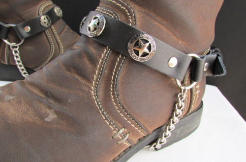 Biker Western Fashion New Unisex Western Star Boot Chain Silver Black Pair Leather Straps Bracelet - alwaystyle4you - 9