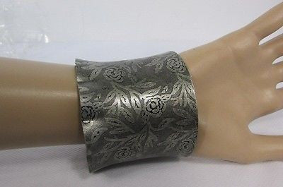 Women Silver Flowers Stamp Metal Corset Bracelet Fashion Jewelry Black Tie - alwaystyle4you - 9