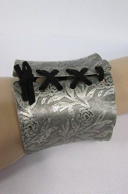 Women Silver Flowers Stamp Metal Corset Bracelet Fashion Jewelry Black Tie - alwaystyle4you - 11