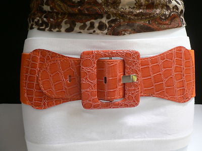 Beige Orange Black Brown Blue Light Blue White Red Purple Pink Gold Green Elastic Stretch Hip High Waist Belt Big Square Buckle New Women's Fashion Accessories XS S M L XL - alwaystyle4you - 22