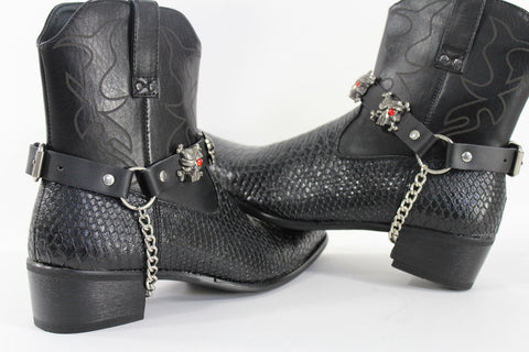Fashionable Biker Western Boots Bracelets Chain Black Leather 2 Straps Silver Skull Skeleton - alwaystyle4you - 1