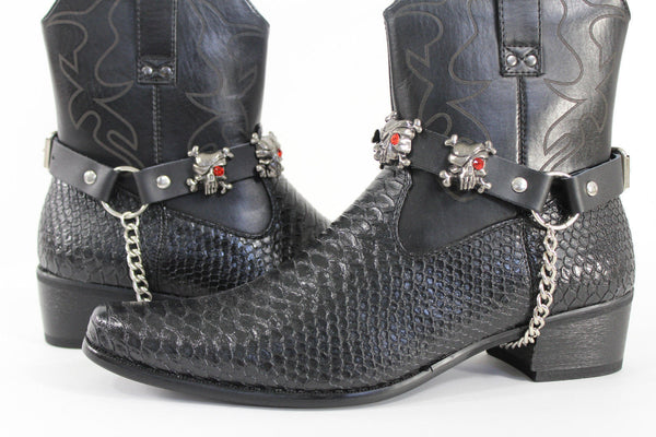 Fashionable Biker Western Boots Bracelets Chain Black Leather 2 Straps Silver Skull Skeleton - alwaystyle4you - 3