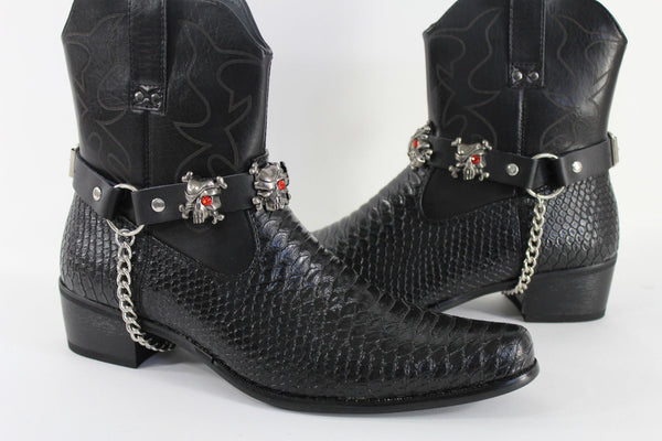 Fashionable Biker Western Boots Bracelets Chain Black Leather 2 Straps Silver Skull Skeleton - alwaystyle4you - 5