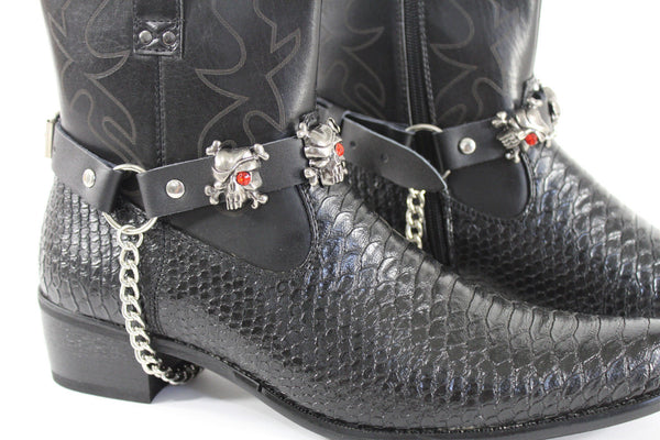 Fashionable Biker Western Boots Bracelets Chain Black Leather 2 Straps Silver Skull Skeleton - alwaystyle4you - 6