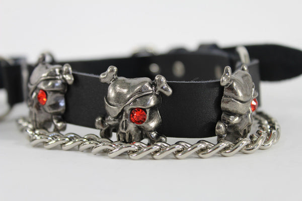 Fashionable Biker Western Boots Bracelets Chain Black Leather 2 Straps Silver Skull Skeleton - alwaystyle4you - 8