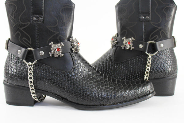 Fashionable Biker Western Boots Bracelets Chain Black Leather 2 Straps Silver Skull Skeleton - alwaystyle4you - 4