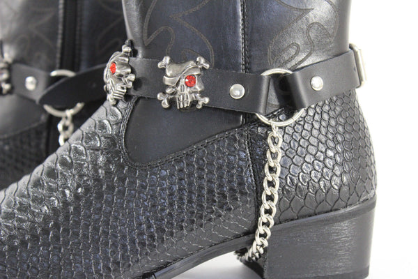 Fashionable Biker Western Boots Bracelets Chain Black Leather 2 Straps Silver Skull Skeleton - alwaystyle4you - 13