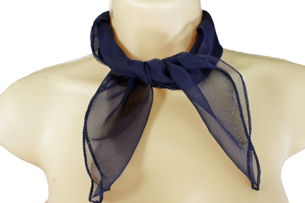 10 Colors To Choose Small Pocket Square Sheer Fabric Mini Tie Scarf Necklace Women Accessories