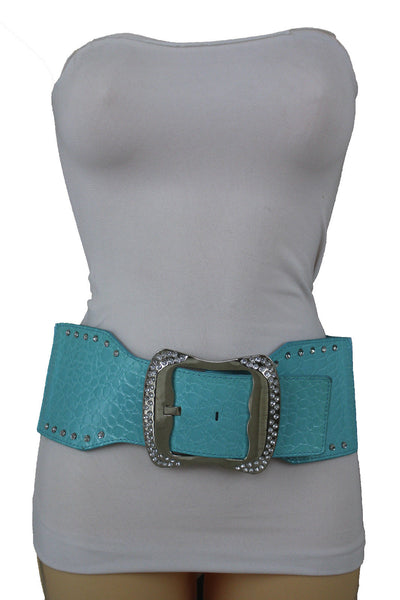 9 Different Colors Faux Leather Wide Elastic Belt High Waist Silver Buckle Women Access